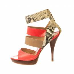 Fendi Tricolor Leather And Python Leather Ankle Strap Platform Sandals Size 37 221435
