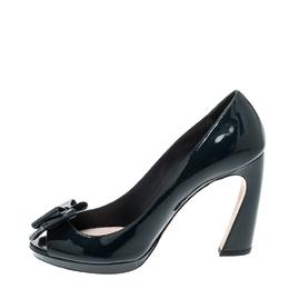 Miu Miu Navy Blue Patent Leather Bow Peep Toe Platform Pumps Size 39.5 221612