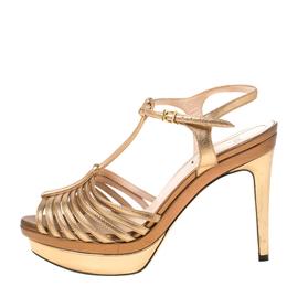 Fendi Metallic Dull Gold Leather T Strap Platform Sandals Size 37.5 221617
