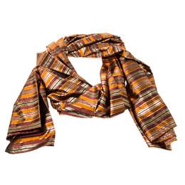 Celine Multicolor Metallic Striped Silk Scarf 221984