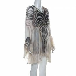 Just Cavalli Cream and Grey Tiger Printed Silk Tie Front Sheer Dress L 221388