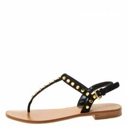 Prada Black/Brown Studded Suede Thong Sandals Size 37 222084