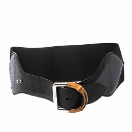 Gucci Black Leather and Elastic Fabric Band Bamboo Buckle Waist Belt 65CM 221282