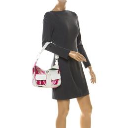 Gianfranco Ferre White/Pink Floral Print Canvas and Leather Pocket Shoulder Bag 221475