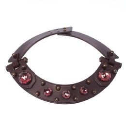 Lanvin Burgundy Crystal Embellished Leather Choker Necklace