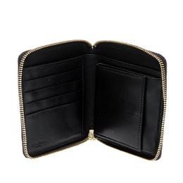 Saint Laurent Black Printed Leather Zip Around Compact Wallet 221390