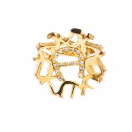 Aigner Crystal Gold Tone Cocktail Ring Size 52 222858