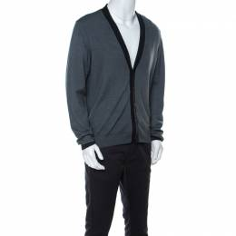 Armani Collezioni Grey Virgin Wool Cardigan XXL 221759