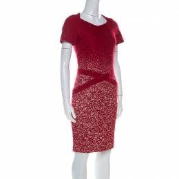 Carolina Herrera Red Textured Wool Short Sleeve Pencil Dress M 221235