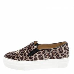 Charlotte Olympia Multicolor Leopard Print Velvet Cool Cats Slip On Sneakers Size 36 221563