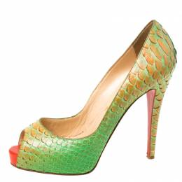 Christian Louboutin Green/Orange Python Troca Altareva Lady Peep Toe Platform Pumps Size 38.5