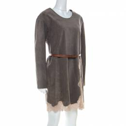 Chloe Grey Suede & Lace Belted Short Dress S 220964