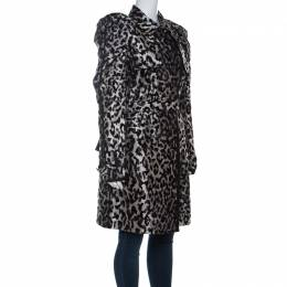 Dolce&Gabbana Grey Leopard Pattern Textured Silk Puff Sleeve Trench Coat L