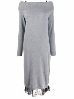 Twin-Set трикотажное платье с открытыми плечами и кружевом 192TT3091
