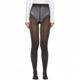 Marc Jacobs Black and Silver Ribbed Tights K2190088