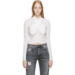 Unravel White Stocking Scarf Wrap Long Sleeve T-Shirt UWAD029F19JER0010100
