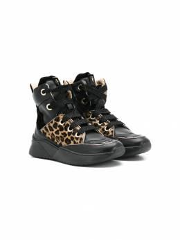 Cesare Paciotti Kids высокие кроссовки с леопардовой вставкой 62544