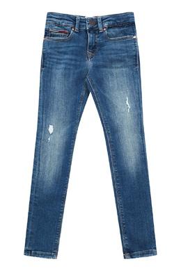 Ярко-синие джинсы с потертостями Tommy Hilfiger Kids 2646150594