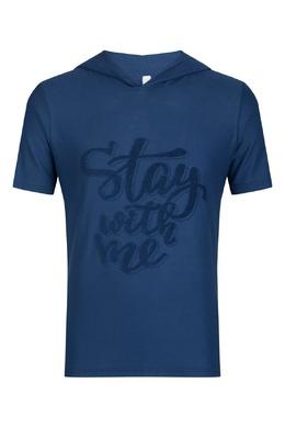 Синяя футболка с вышитой надписью Eleventy 2014149777