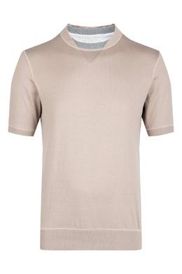 Светло-коричневая футболка с двойным воротом Eleventy 2014149767