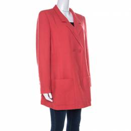 Chanel Coral Red Wool Bouclé Vintage Jacket XL 222311