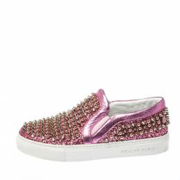 Phillip Plein Pink Leather and Glitter Spike Gall Slip On Sneakers Size 37 Philipp Plein 223491
