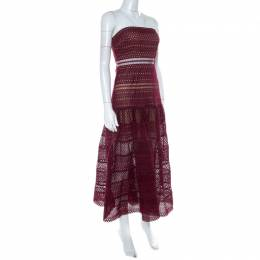 Self-Portrait Burgundy Guipure Lace Strapless Drop Waist Midi Dress S