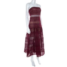 Self-Portrait Burgundy Guipure Lace Strapless Drop Waist Midi Dress S 223760