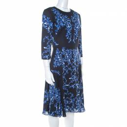 Erdem Navy Blue Lillie Printed Silk Crepe Dress M 222065