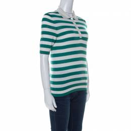 Dolce&Gabbana Green and Off White Cashmere Striped Polo T Shirt M 221869