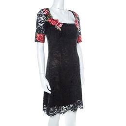 Marchesa Notte Black Lace Floral Applique Backless Short Dress S 222834