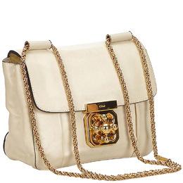 Chloe White Leather Elsie Crossbody Bag 221179