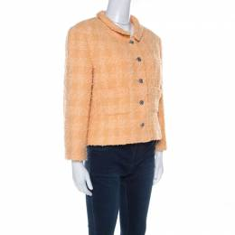 Chanel Pale Orange Wool Knobby Knit Silver Button Detail Jacket XL 222326