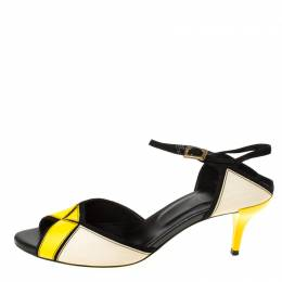 Roger Vivier Tri Color Leather Peep Toe Ankle Strap Sandals Size 37.5 219927