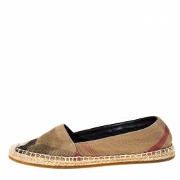 Burberry Beige Hodgeson Check Canvas Flat Espadrille Size 38 223759