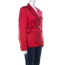 Prada Crimson Red Silk Belted Tailored Jacket L 223728