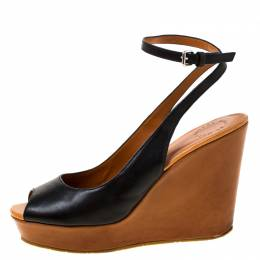 Marc By Marc Jacobs Black Leather Peep Toe Wedge Sandals Size 40 223922
