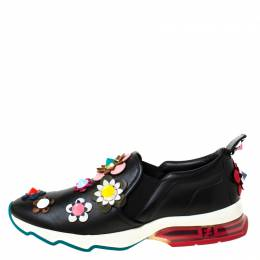 Fendi Black Leather Flowerland Ffast Slip On Sneakers Size 40 223923