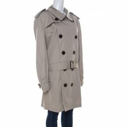 Burberry Brit Beige Cotton Twill Double Breasted Belted Trench Coat XXL 223658