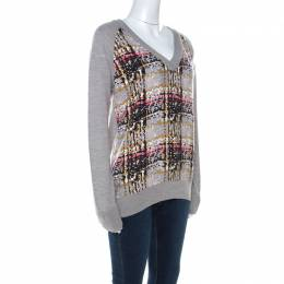 See By Chloe Grey Wool Abstract Print Detail Sweater S