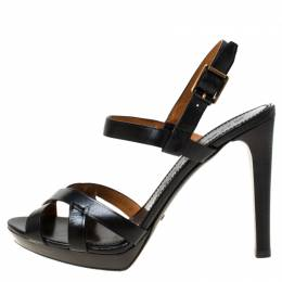 Burberry Black Leather Bridle Ankle Strap Sandals Size 41 223696