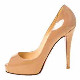 Christian Louboutin Nude Beige Patent Leather Very Prive Peep Toe Pumps Size 36 224094