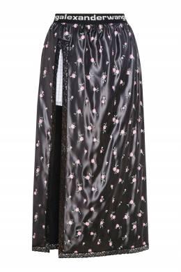 Черная юбка с цветочным принтом Alexander Wang 367150562