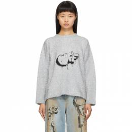 Off-White Silver Bubble Off Sweater OWHE017F19F930709110