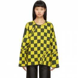 Off-White Yellow and Grey Checked Sweater OWHE017F19F940786008