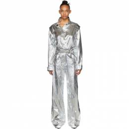 Off-White Silver Racing Loose Jumpsuit OWDC026F19F760509100
