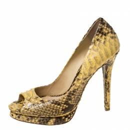 Alexander Birman Yellow/Black Python Peep Toe Pumps Size 40.5 Alexandre Birman 224655