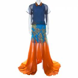Matthew Williamson Blue & Orange Printed Chiffon Dress With Organza Top L 223555