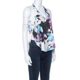 3.1 Phillip Lim White Floral Print Silk Sleeveless Racerback Vest XS 222863