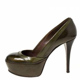 Marni Olive Green Patent Leather Platform Pumps Size 37 224199